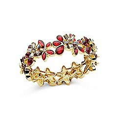 Anne Klein - Red and gold flower strecth bracelet