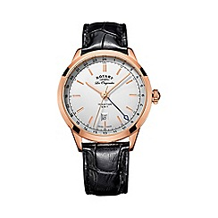 Rotary - Gents Rose Gold Plated Strap Watch gs90183/02