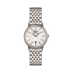 Rotary - Ladies Stainless Steel Bracelet Watch with Pink MOP Dial and Stone Set Bezel lb90050/41