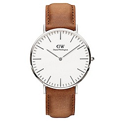Daniel Wellington - Men's silver Durham brown leather strap watch dw00100110