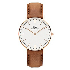 Daniel Wellington - Ladies' rose gold Durham brown leather strap watch dw00100111