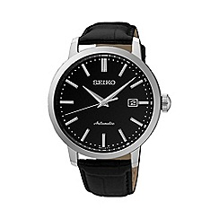 Seiko - Gents Stainless Steel 3-Hand Automatic Leather Strap Watch srpa27k1