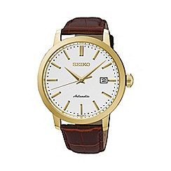 Seiko - Gents Stainless Steel/Gold Plate 3-Hand Leather Strap Watch srpa28k1