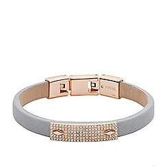Fossil - Ladies rose-tone and grey leather bracelet