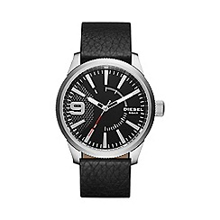 Diesel - Men's RASP black leather strap watch dz1766