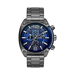 Diesel - Men's Overflow blue dial and gunmetal bracelet watch dz4412