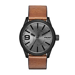 Diesel - Men's RASP brown leather strap watch