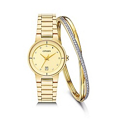 Citizen - Ladies Gold tone bracelet stainless steel watch with bangle eu6012-58p set