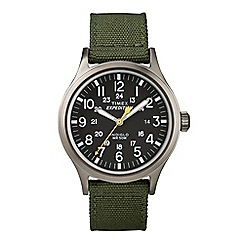 Timex - Men's Expedition Black Dial with Green Nylon Strap Watch t49961