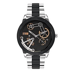 STORM - Men's black contrast link bracelet watch