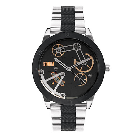 STORM London - Men+s black contrast link bracelet watch
