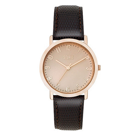 STORM London - Ladies brown snakeskin embossed leather strap watch