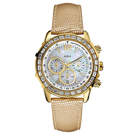 Guess - Ladies gold strap crystal encrusted watch