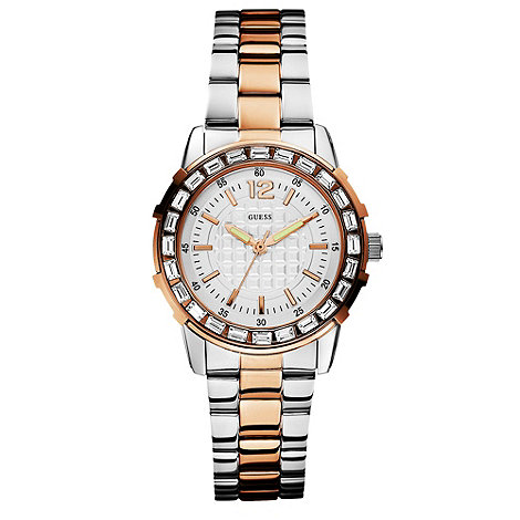 Guess - Ladies silver two tone strap watch