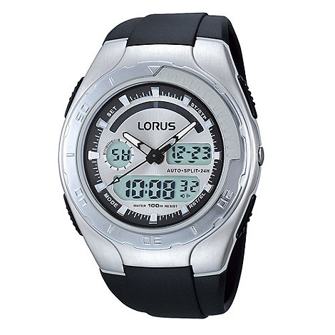 Lorus - Men+s silver and black digital watch