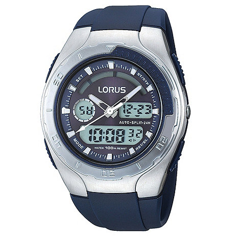 Lorus - Men+s silver and navy digital watch