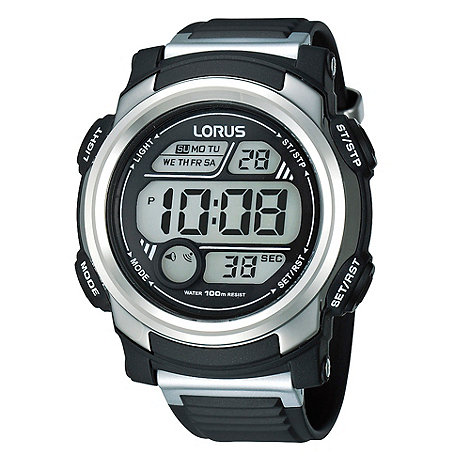 Lorus - Men's black and silver digital watch