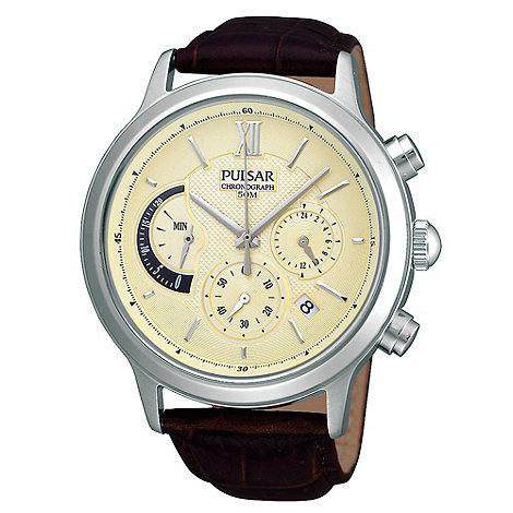 Pulsar - Men+s brown leather strap watch