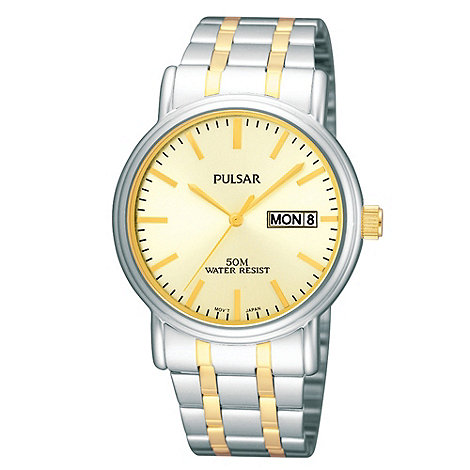 Pulsar - Men+s silver two tone watch