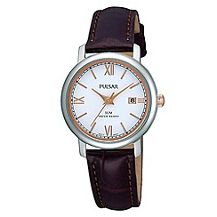 Pulsar - Ladies brown strap watch