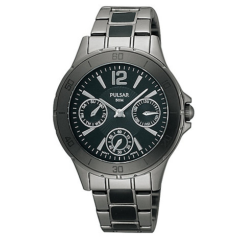 Pulsar - Men+s gunmetal bracelet watch