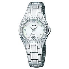Pulsar - Ladies silver stone bezel watch