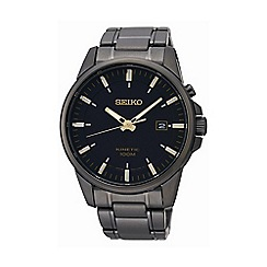 Seiko - Men's gunmetal round dial watch