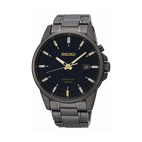 Seiko - Men+s gunmetal round dial watch