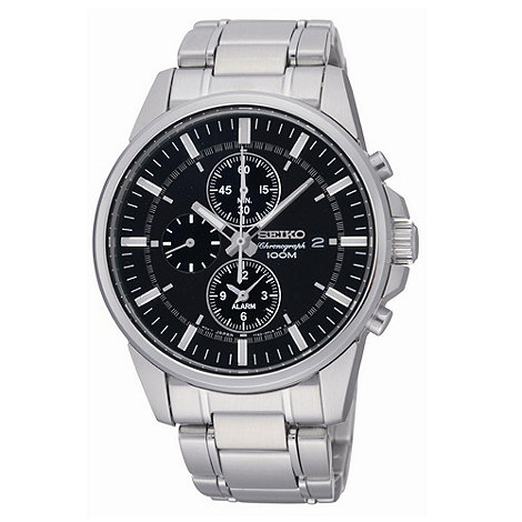 Seiko - Men+s silver round dial bracelet watch