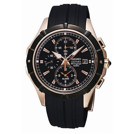 Seiko - Men+s chuncky chrome and black watch