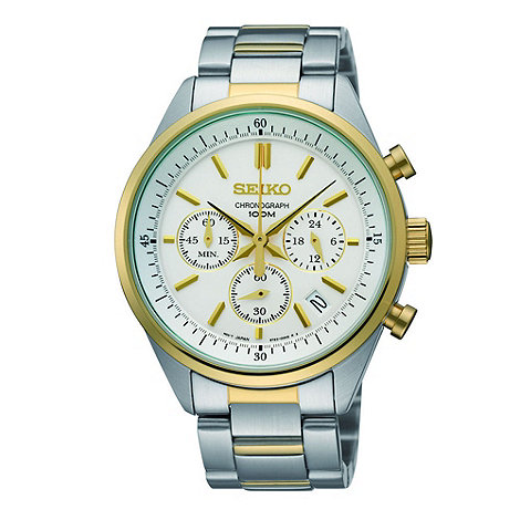 Seiko - Men+s gold chronograph watch