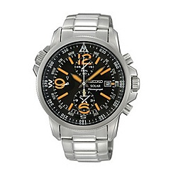 Seiko - Men's black and orange dial watch