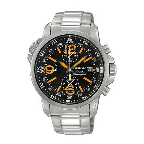 Seiko - Men+s black and orange dial watch
