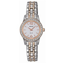 Seiko - Ladies silver diamante bezel watch