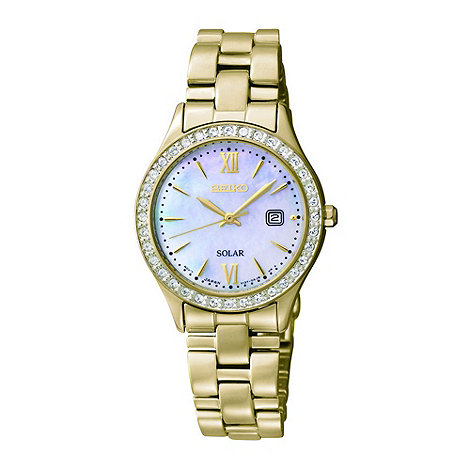 Seiko - Ladies gold mother of pearl dial watch