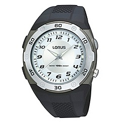 Lorus - Men's black analogue dial silicone strap watch