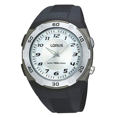 Lorus - Men+s black analogue dial silicone strap watch