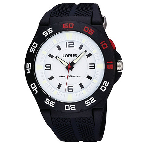 Lorus - Men+s black and white analogue dial silicone strap watch