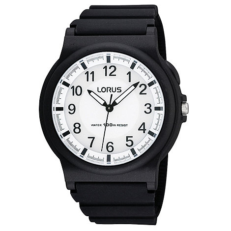 Lorus - Men+s black textured silicone strap watch