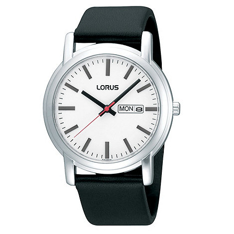 Lorus - Men+s black silicone strap silver bezelled watch