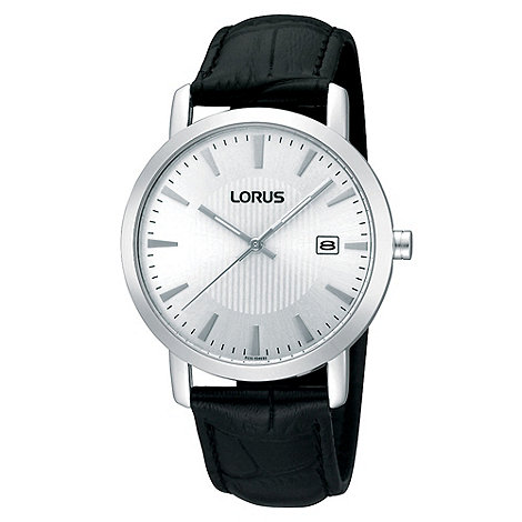 Lorus - Men+s black mock-crocodile strap silver dial watch