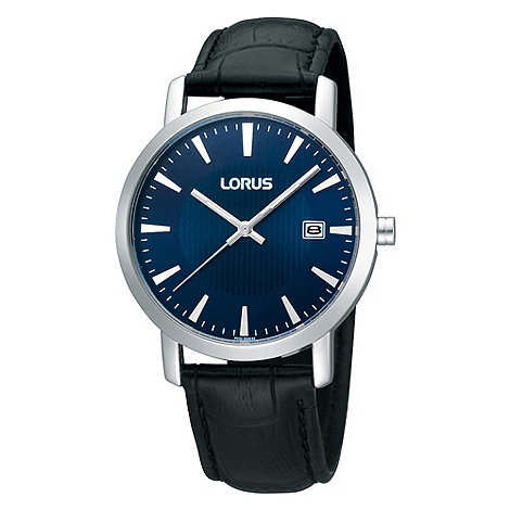 Lorus - Men+s black mock-crocodile strap blue dial watch