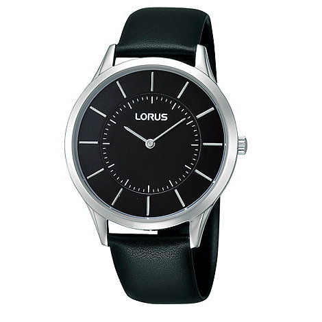 Lorus - Men+s black analogue dial leather strap watch