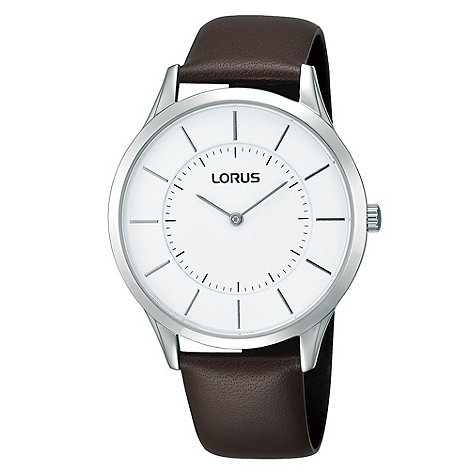 Lorus - Men+s brown analogue dial leather strap watch
