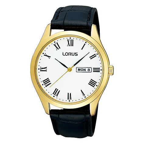 Lorus - Men+s black mock-crocodile strap gold case watch