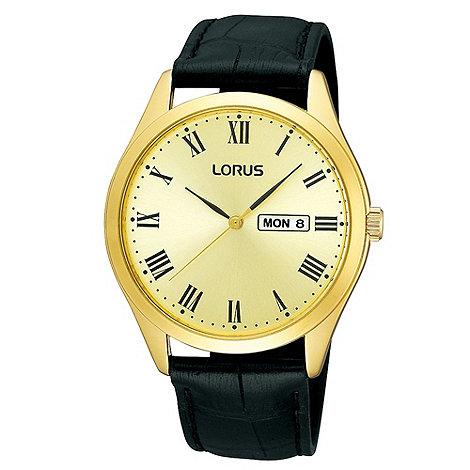 Lorus - Men+s black mock-crocodile strap gold dial watch