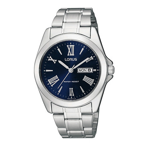 Lorus - Men+s silver and navy roman numerals analogue dial watch