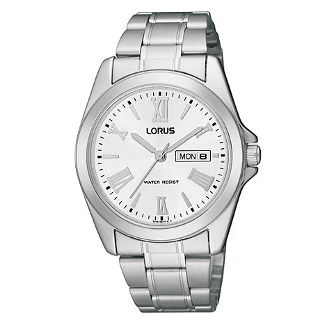 Lorus - Men+s silver roman numerals analogue dial watch