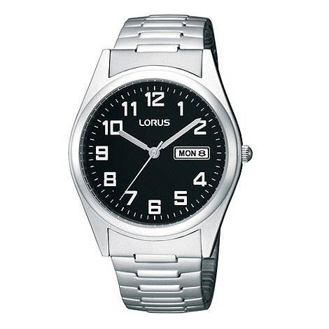 Lorus - Men+s silver analogue dial bracelet watch