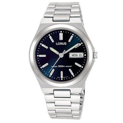 Lorus - Men+s navy analogue dial bracelet watch